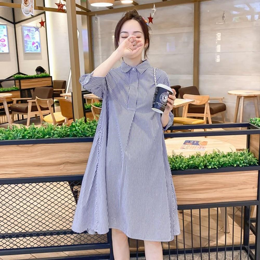 D4201 - 實拍 韓系 翻領 洋裝【D4201】A字版型 寬鬆 慵懶風 開襟 條紋 七分袖 襯衫洋裝