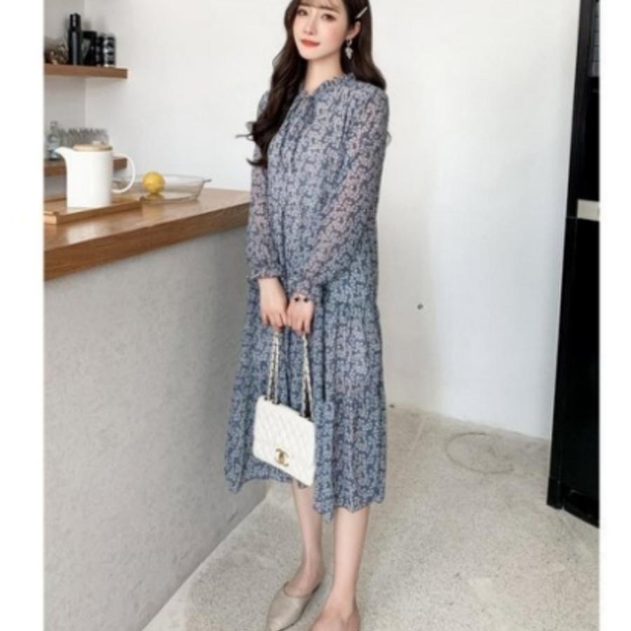碎花 洋裝 【D4879】 韓系 雪紡 立領 浪漫 飄逸長袖 長裙 孕婦洋裝 孕婦裝