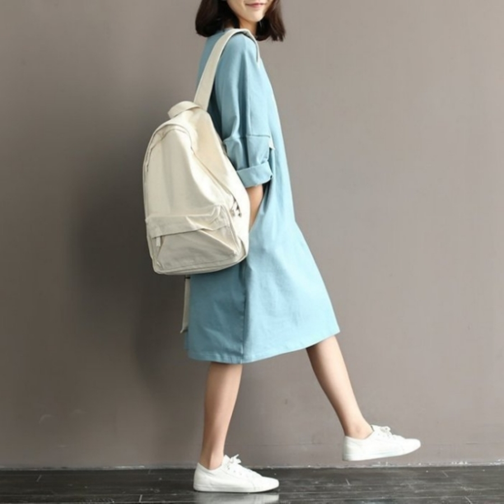 小清新洋裝 【D5066】 印花 寬鬆 舒適 蝙蝠袖 柔棉 七分袖 孕婦裝 過膝裙 加大碼
