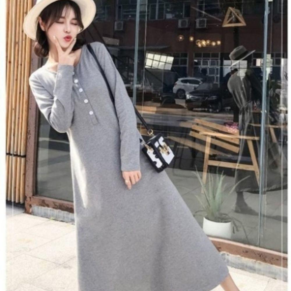 D5088-韓國洋裝 【D5088】 修身 顯瘦 開襟 長袖 長裙 孕婦洋裝 孕婦裝 孕婦裙 長洋裝