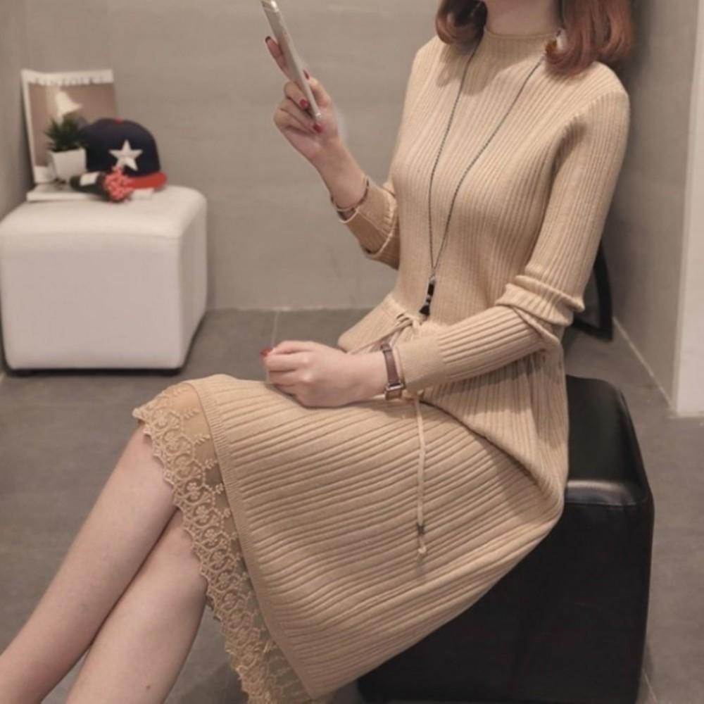D5099 - 韓系 坑條 蕾絲 針織洋裝 【D5099】 純色 長裙 長洋裝 毛衣 針織 孕婦裝