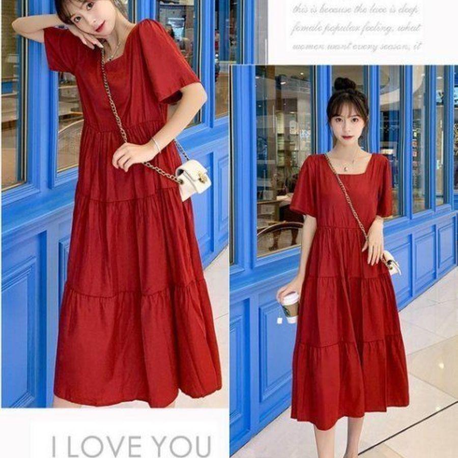 方領 洋裝 【D5132】 韓系 短袖 長裙 純色 韓 質感 孕婦裝 長洋裝