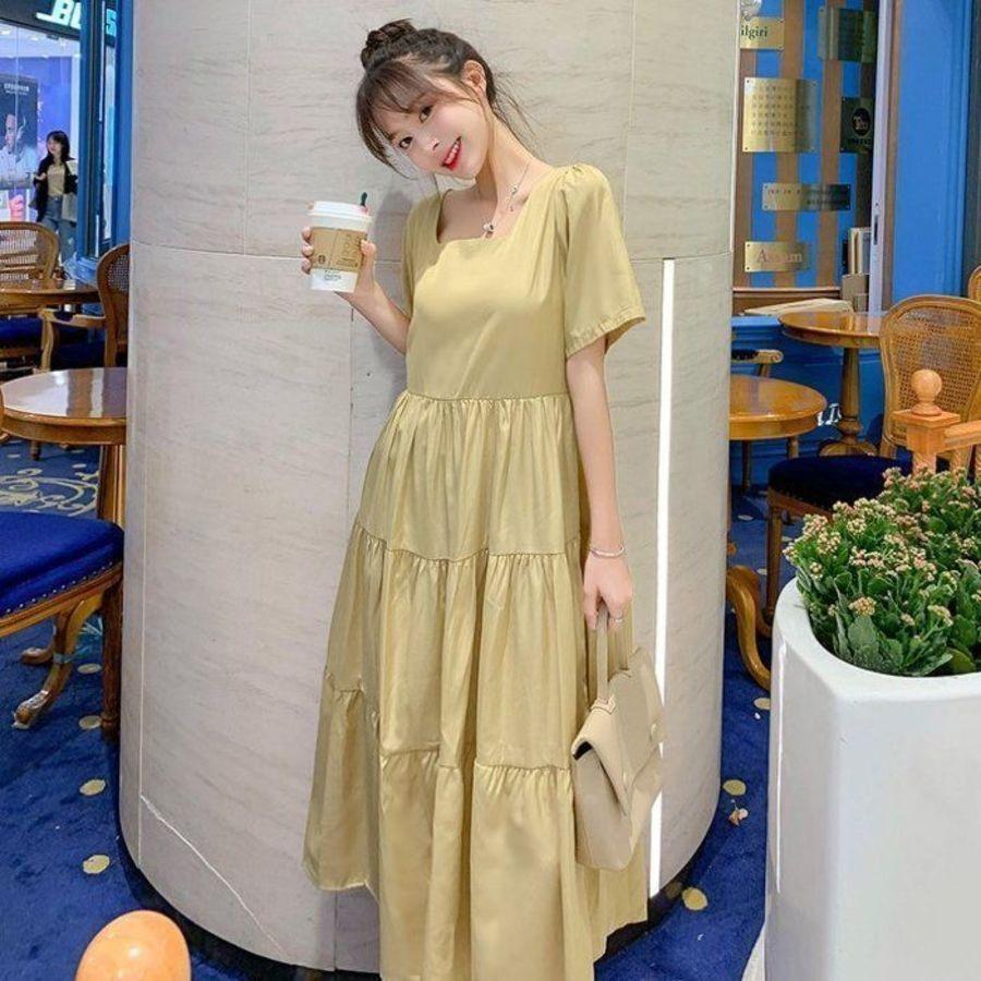 D5132-方領 洋裝 【D5132】 韓系 短袖 長裙 純色 韓 質感 孕婦裝 長洋裝