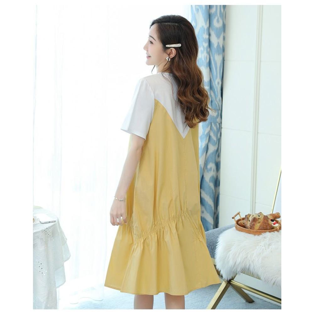 實拍 韓系 假二件 短袖 洋裝【D5207】假兩件 短袖 背心裙 魚尾裙 魚尾洋裝 連衣裙
