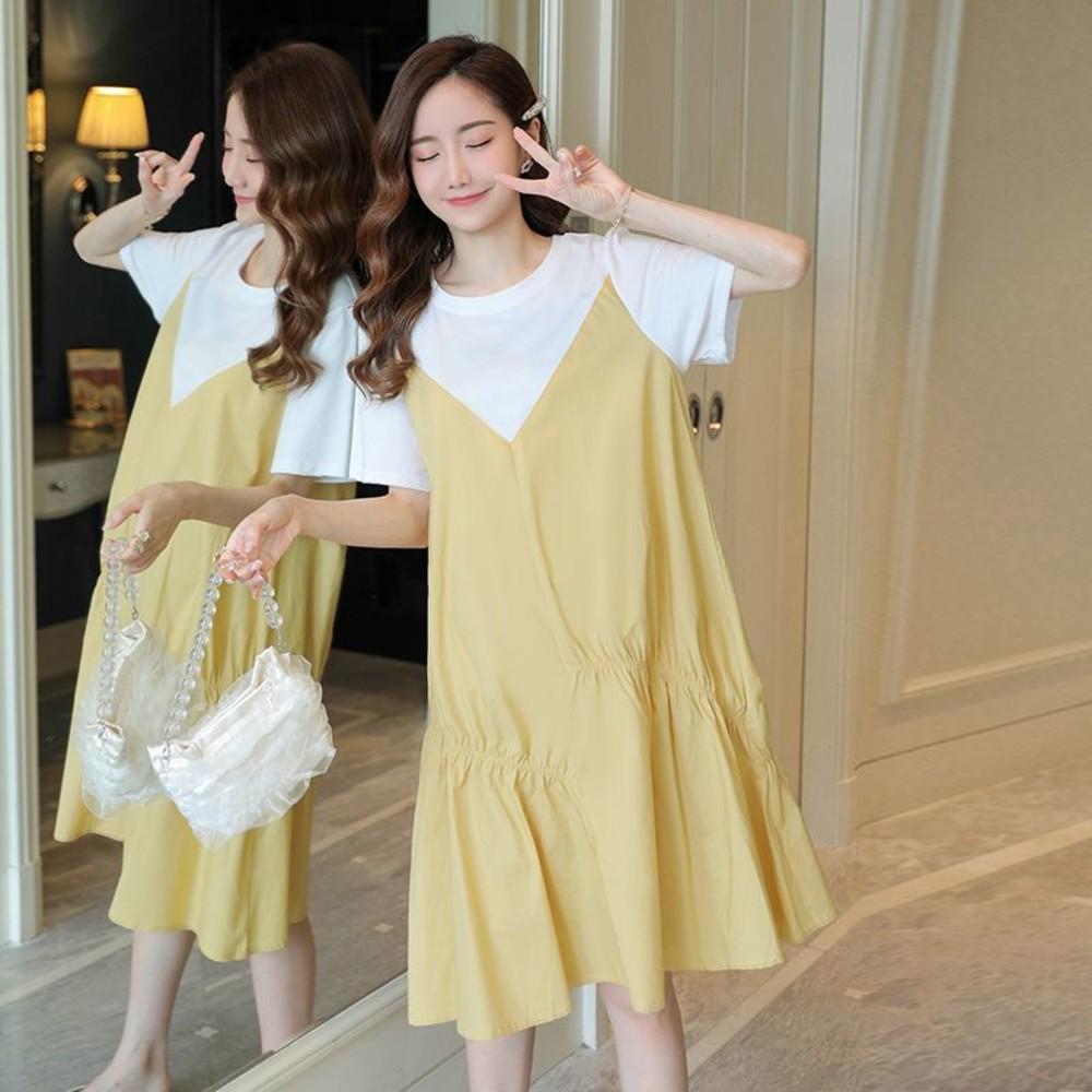 實拍 韓系 假二件 短袖 洋裝【D5207】假兩件 短袖 背心裙 魚尾裙 魚尾洋裝 連衣裙 封面照片