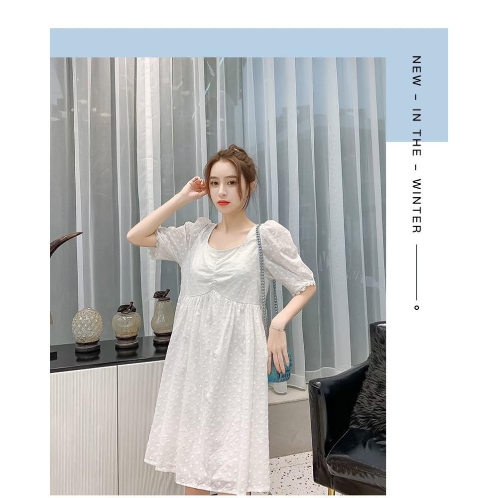 實拍 韓系 方領 洋裝【D5215】收腰 顯瘦 刺繡 繡花 棉麻 連身裙
