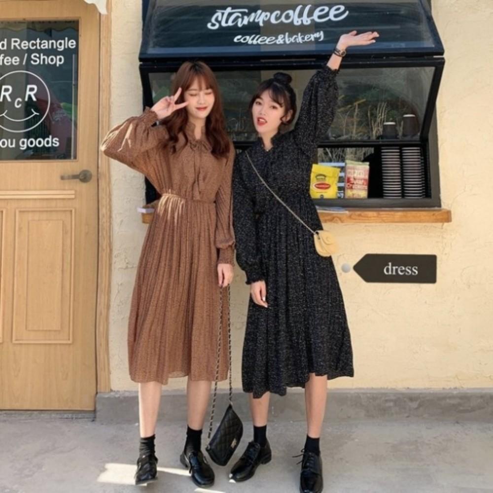 D5318 - 碎花洋裝【D5318】 碎花 長袖 韓系 立領 繫帶 雪紡 長裙 洋裝 孕婦裝 長洋裝