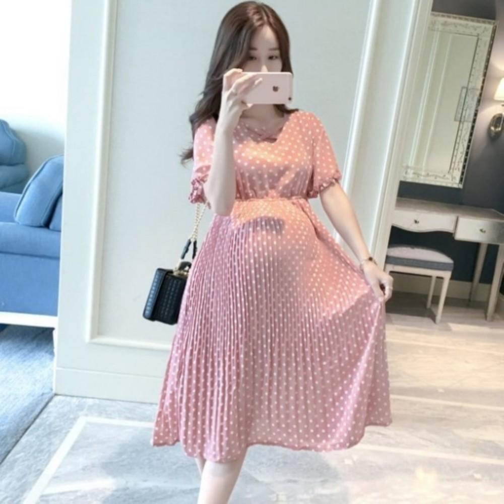 韓系點點洋裝 【D5322】 波點 雪紡洋裝 孕婦洋裝 高腰 連身裙 孕婦裝