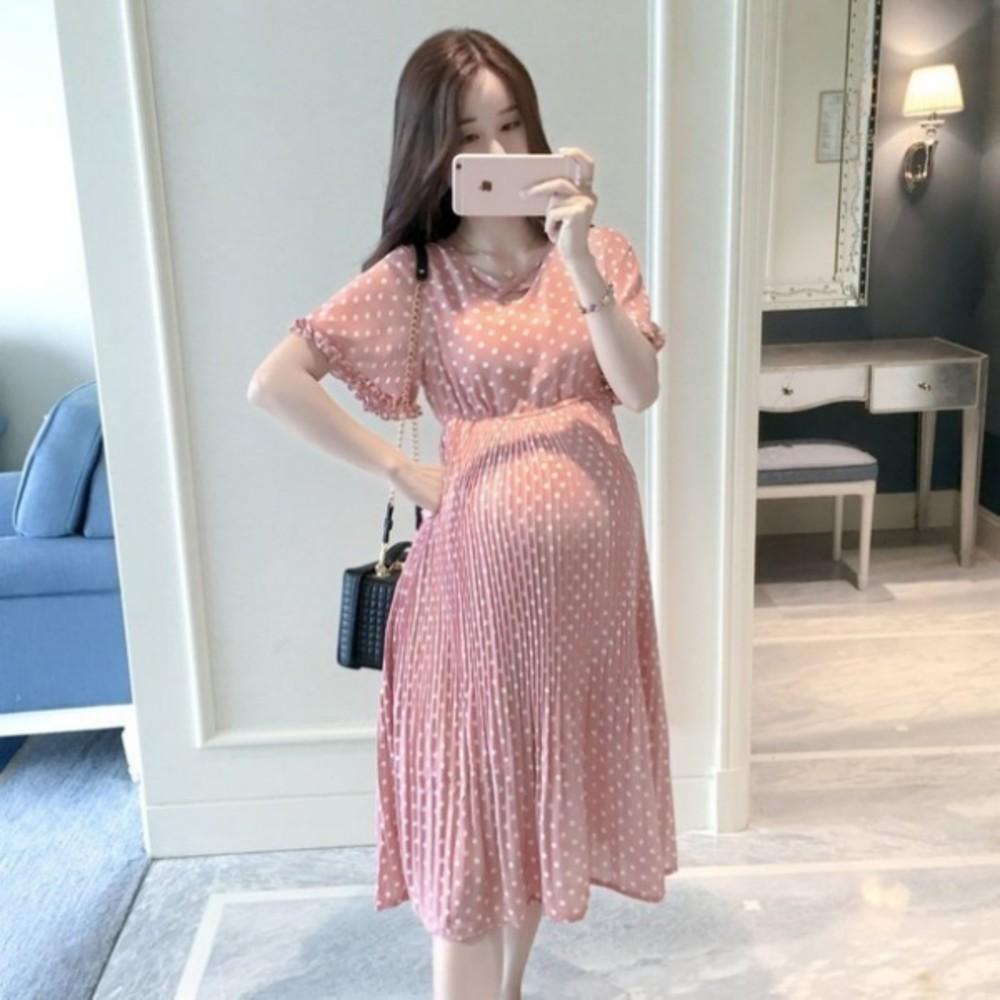 D5322-韓系點點洋裝 【D5322】 波點 雪紡洋裝 孕婦洋裝 高腰 連身裙 孕婦裝