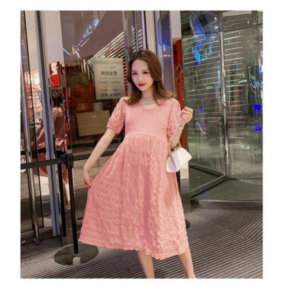 顯瘦 公主袖 連身裙【D5369】 短袖 純色 泡泡袖 孕婦裝 洋裝