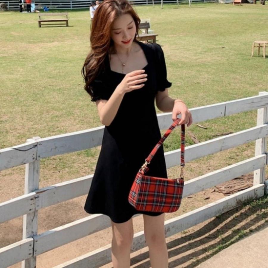 韓系 公主袖 加大尺碼 L碼 洋裝 【D5523】 碎花小洋裝 純色 泡泡袖 連身裙 長裙 開岔 長洋裝