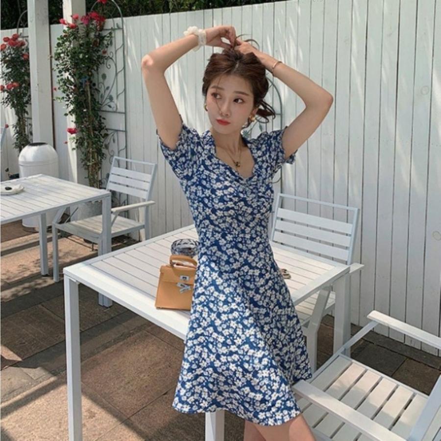 D5523-韓系 公主袖 加大尺碼 L碼 洋裝 【D5523】 碎花小洋裝 純色 泡泡袖 連身裙 長裙 開岔 長洋裝
