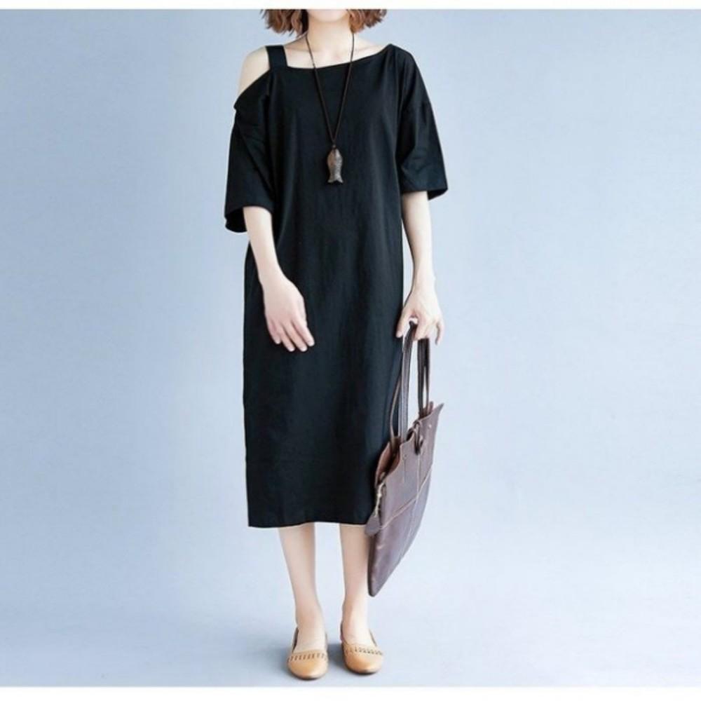 露肩洋裝 【D5566】 過膝裙 裸肩 短袖洋裝 五分袖 落肩 孕婦裝 連身裙