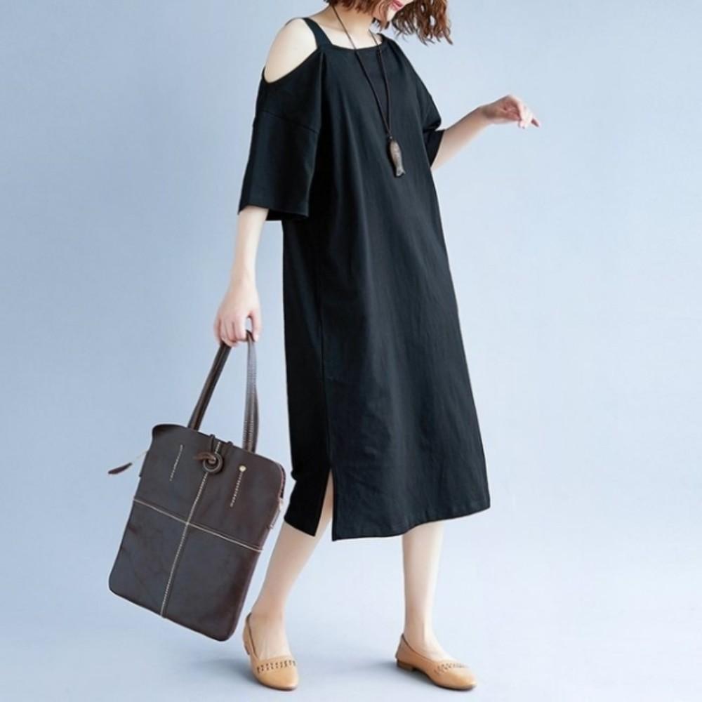 D5566-露肩洋裝 【D5566】 過膝裙 裸肩 短袖洋裝 五分袖 落肩 孕婦裝 連身裙
