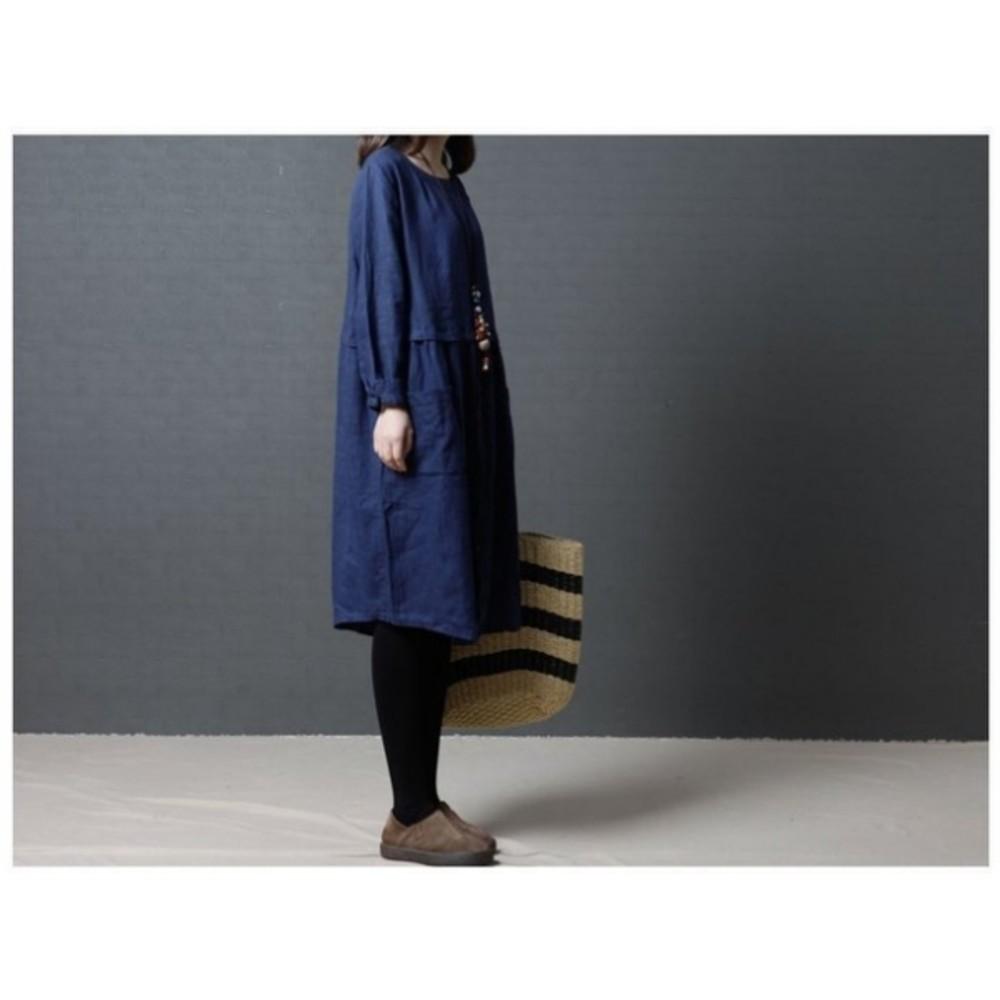 文藝洋裝 【D5581】 寬鬆 鈕扣 長袖 棉麻 孕婦裝 孕婦洋裝 長袖洋裝