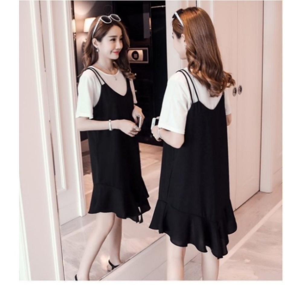 兩件式雪紡洋裝 【D5809】 短袖 棉T恤 細肩 魚尾裙 雙肩帶 吊帶裙 雪紡 孕婦裝 背心裙
