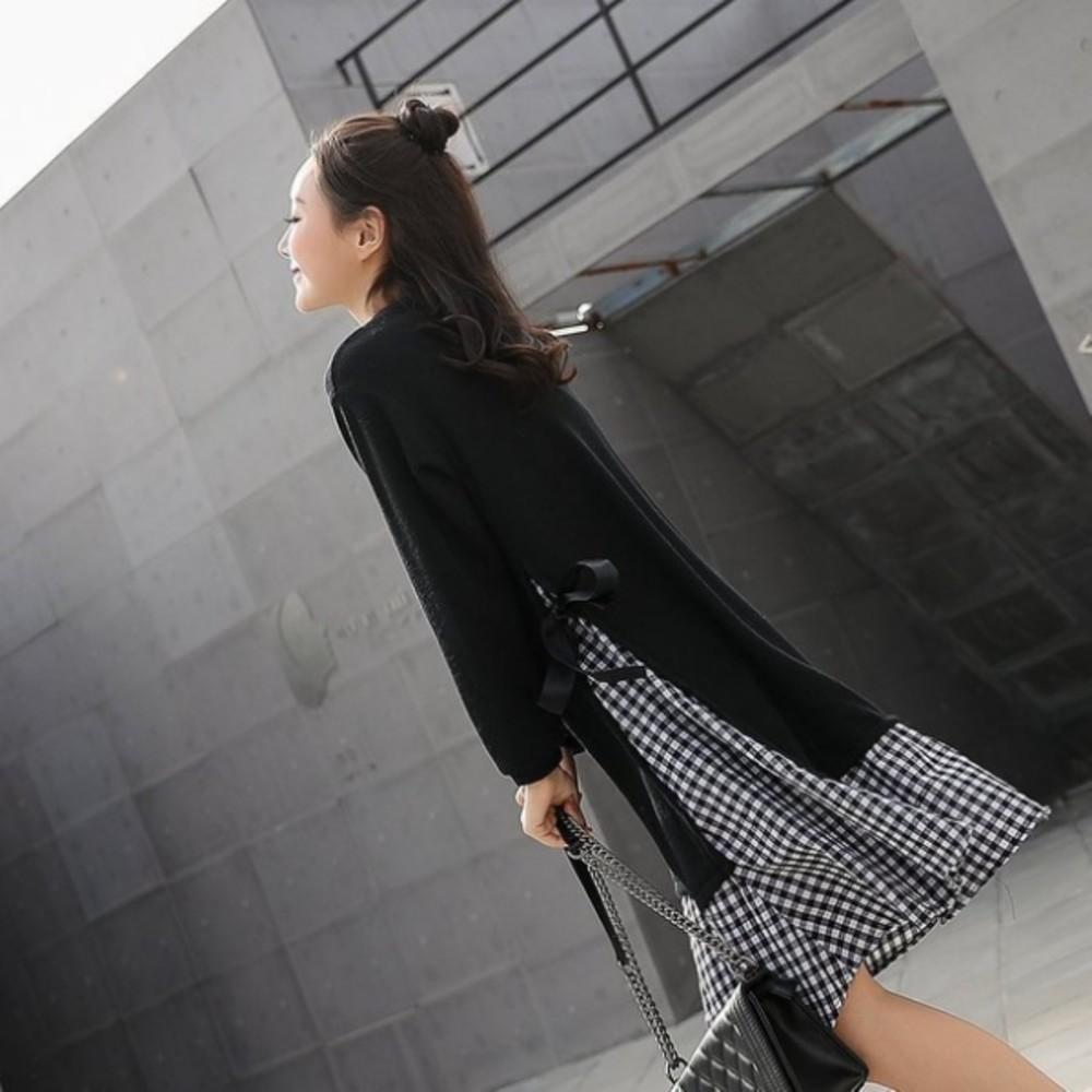 假兩件 洋裝 【D5819】 格紋 假二件 孕婦裝 長袖 長洋裝 格子紋 長裙 魚尾裙
