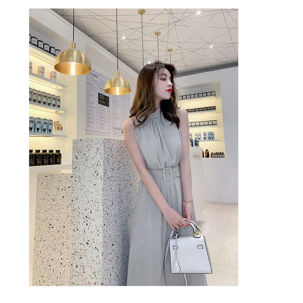 女神系長裙【D5837】 無袖洋裝 韓 修身 顯瘦 長款 無袖 雪紡 連衣裙 長裙