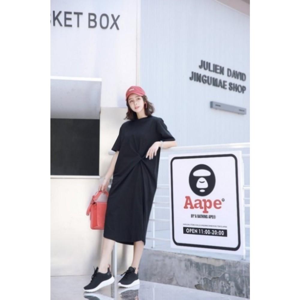 韓系洋裝 【D5858】 純色 寬鬆 顯瘦 開叉 長裙 長洋裝 孕婦裝 連身裙