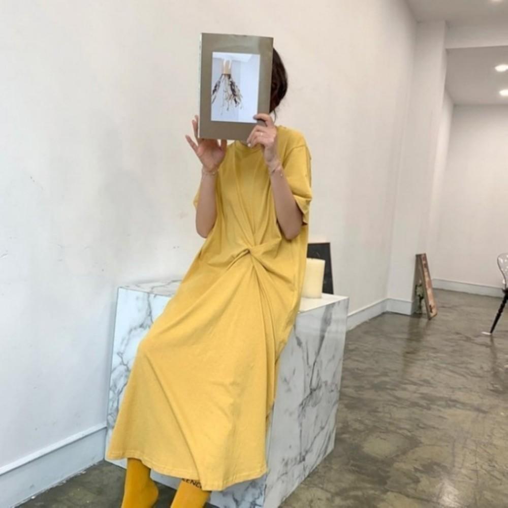 韓系洋裝 【D5858】 純色 寬鬆 顯瘦 開叉 長裙 長洋裝 孕婦裝 連身裙 封面照片