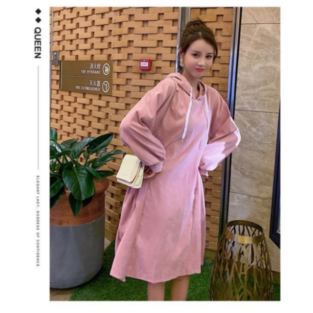 韓系連帽寬鬆口袋洋裝 【D5887】 燈蕊絨 孕婦 長袖 孕婦 孕婦連衣裙