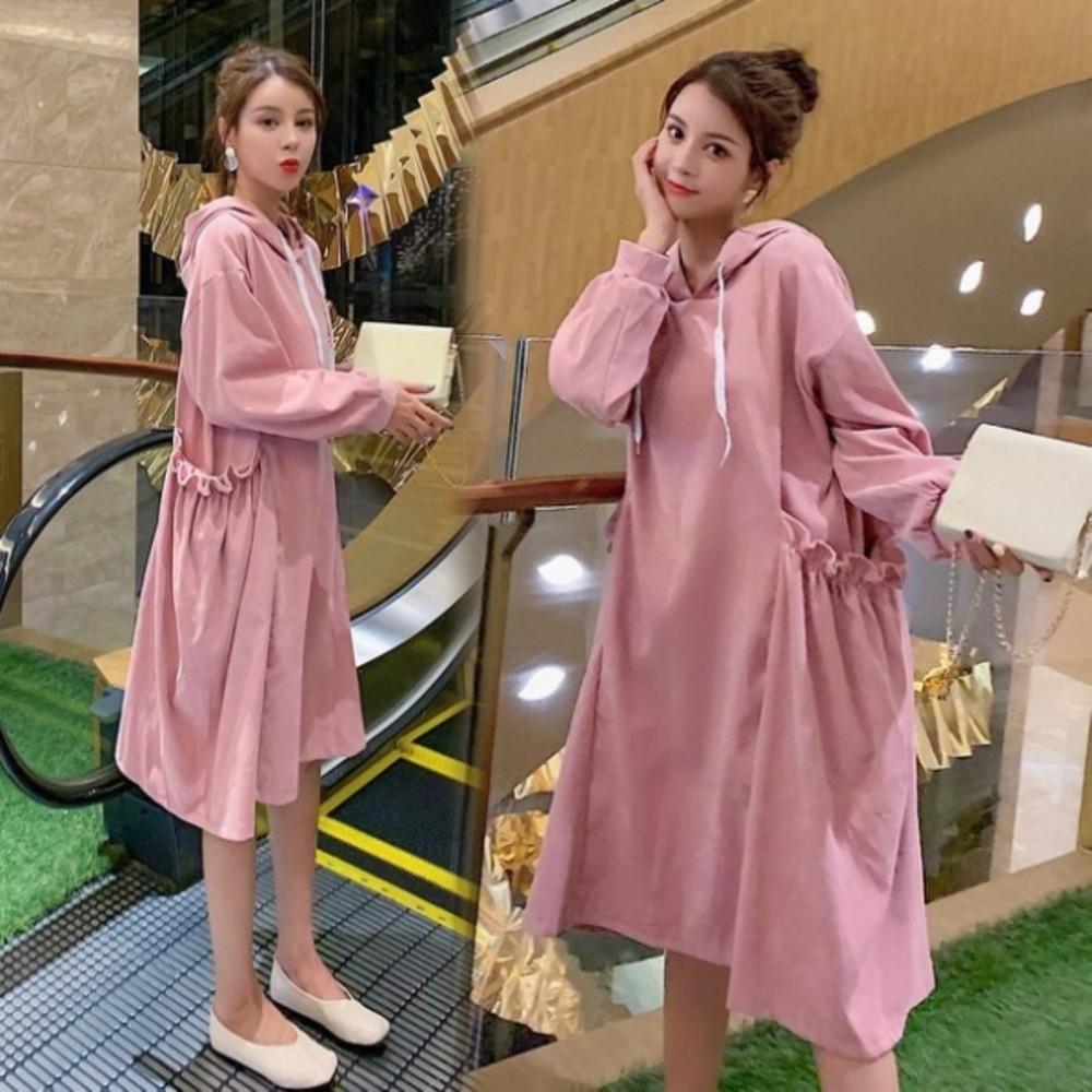 韓系連帽寬鬆口袋洋裝 【D5887】 燈蕊絨 孕婦 長袖 孕婦 孕婦連衣裙 封面照片