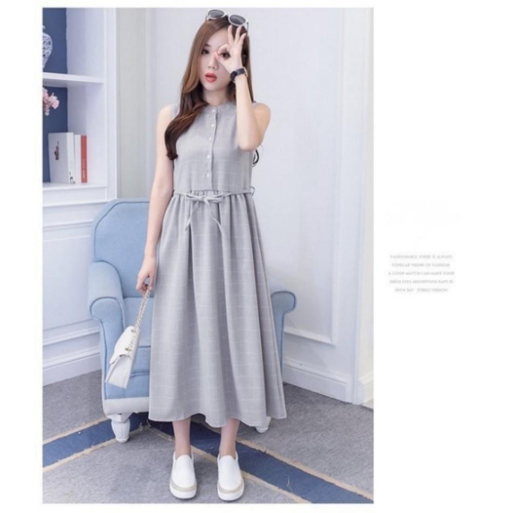 韓國無袖長裙 【D5981】 清新 格紋 收腰 繫帶 長裙 孕婦裝 無袖洋裝 長洋裝 開扣 哺乳