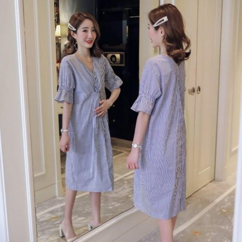 文藝洋裝 【D6013】 條紋 短袖 扭結 V領 開叉 喇叭袖 孕婦裝 洋裝