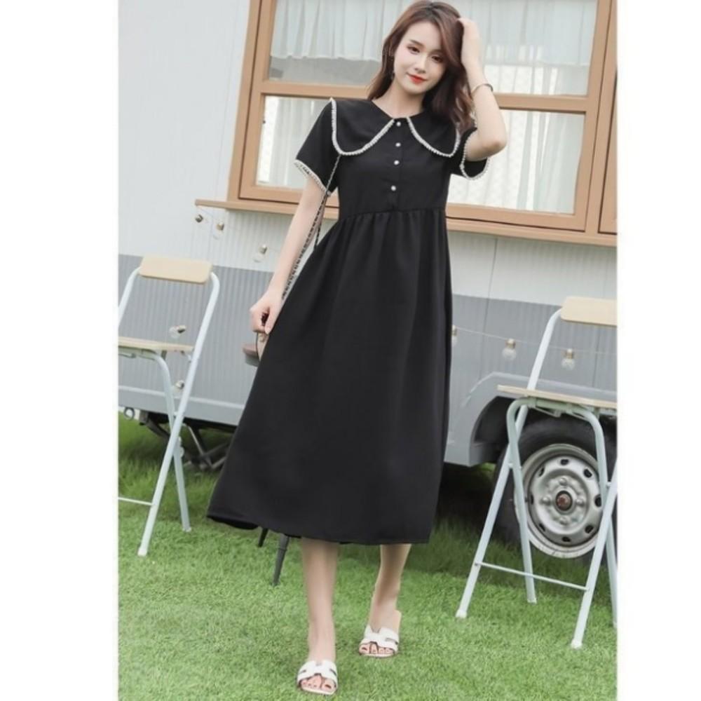 公主領 洋裝 【D6020】韓系 雪紡 珍珠 高腰 質感 洋裝 孕婦裝 長裙 長洋裝