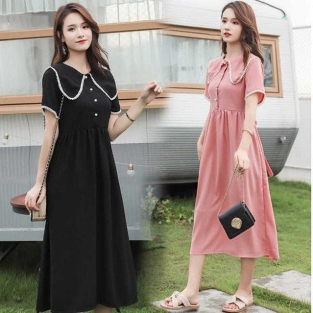 D6020-公主領 洋裝 【D6020】韓系 雪紡 珍珠 高腰 質感 洋裝 孕婦裝 長裙 長洋裝