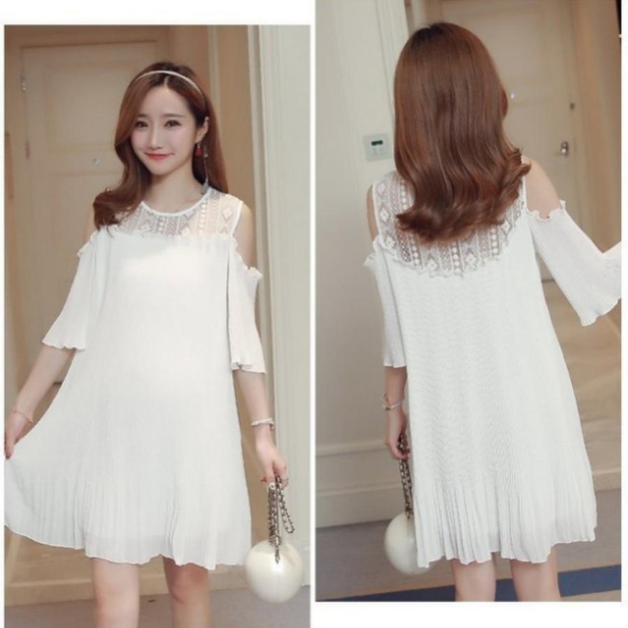 韓國洋裝 【D6081SN】 露肩 蕾絲 拼接 雪紡 百褶裙 裸肩洋裝 寬鬆 傘狀 孕婦裝
