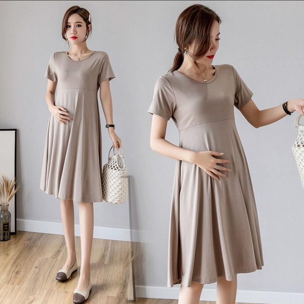 純色洋裝 【D6130】 超優質感 媲美專櫃 莫代爾 傘狀 短袖 洋裝 孕婦裝
