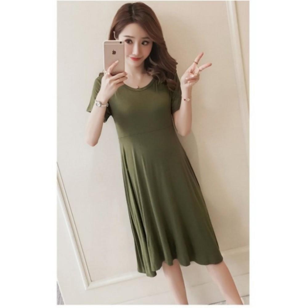 短袖洋裝 【D6132】 超舒適 純色 莫代爾 超柔軟 孕婦裝 孕婦洋裝 娃娃裝