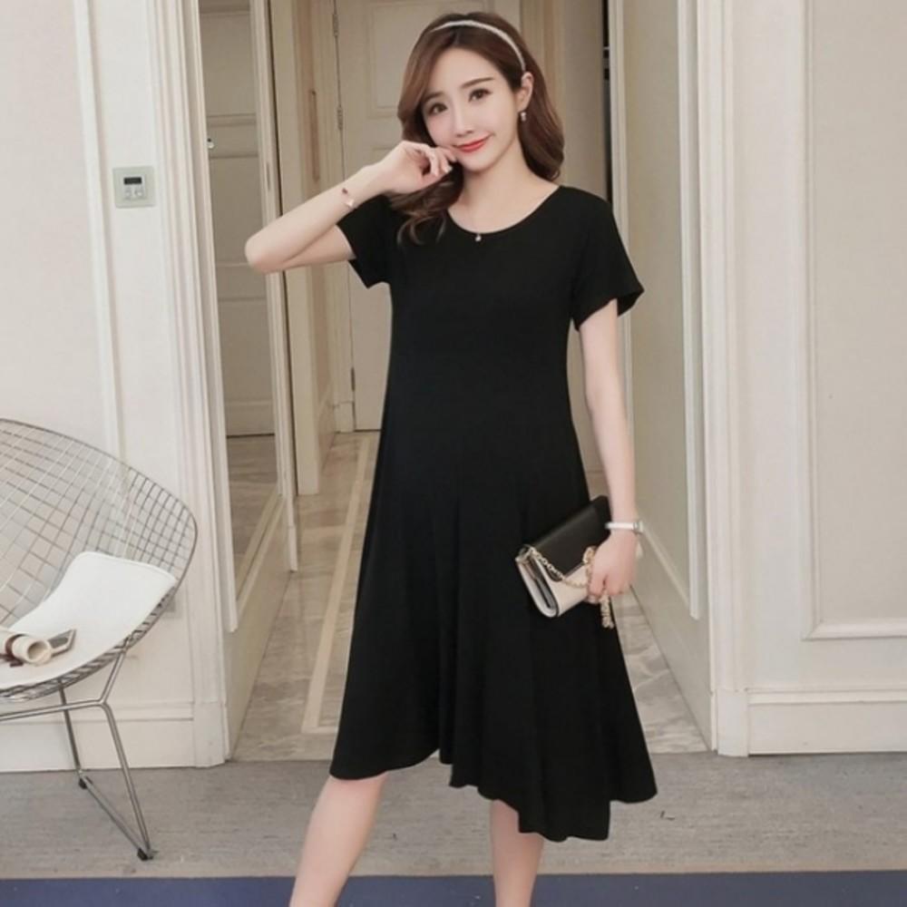 D6132 - 短袖洋裝 【D6132】 超舒適 純色 莫代爾 超柔軟 孕婦裝 孕婦洋裝 娃娃裝