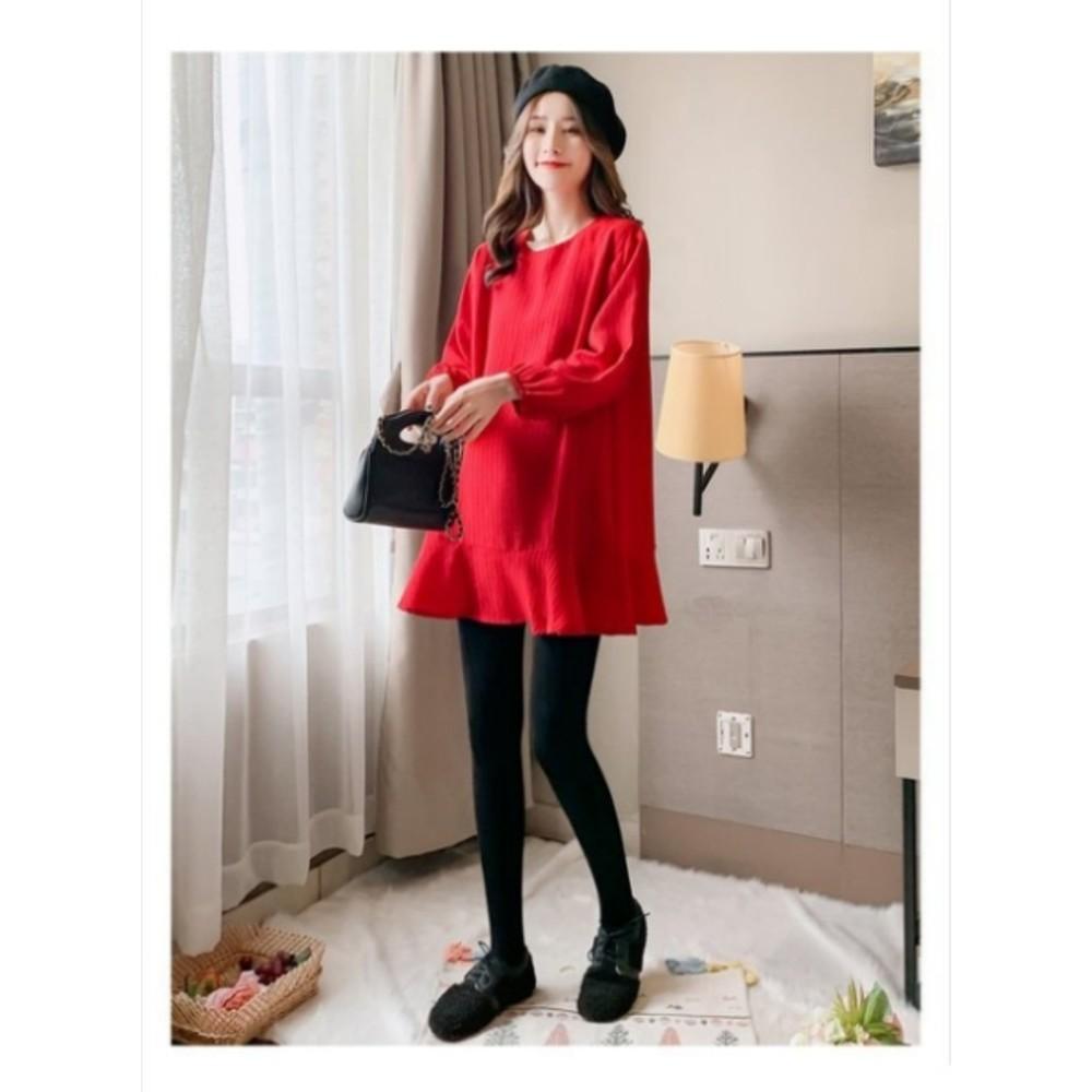 韓系 長袖 坑條 魚尾 洋裝 【D6137】魚尾裙 顯瘦 孕婦裝 連身裙 荷葉裙