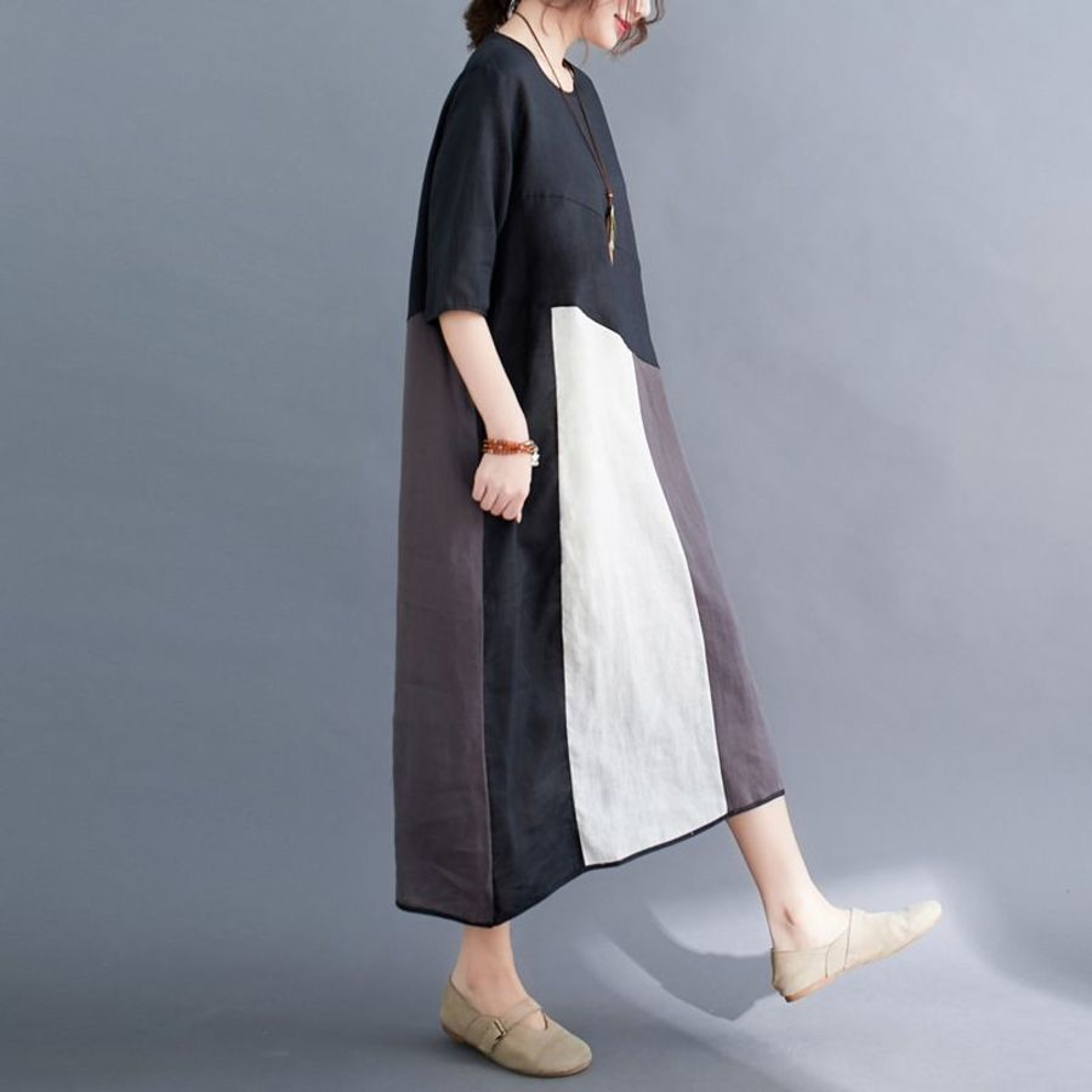 文藝 大碼 短袖 洋裝【D6215】實拍 撞色 拼接 長裙 連衣裙 加大 拚色 長洋裝