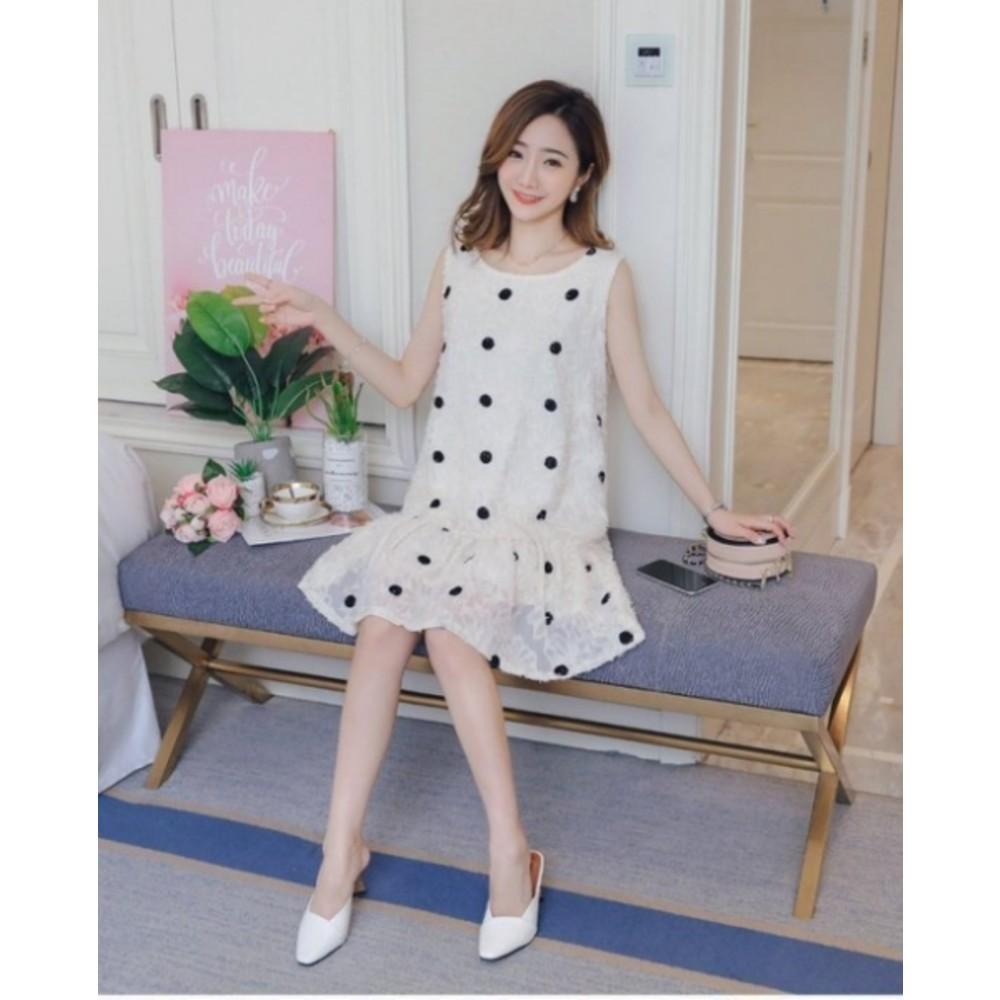 清新 波點洋裝 【D6226】 無袖 點點 修身 顯瘦 魚尾洋裝 孕婦裝 魚尾裙