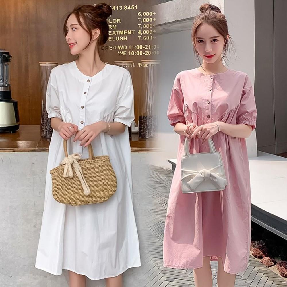 D6326-韓系 實拍 寬鬆 開扣 洋裝【D6326】純色 包袖 插肩袖 連衣裙