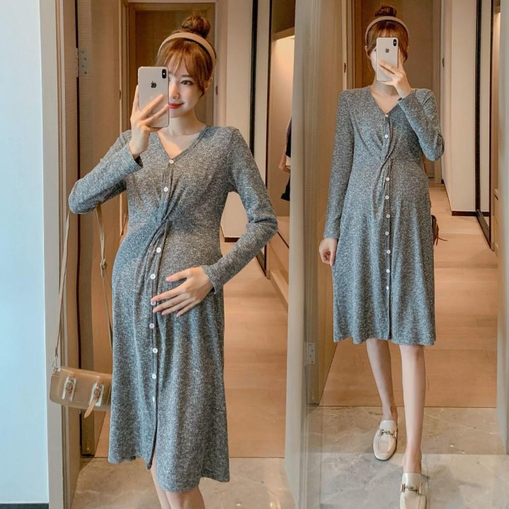 D6336 - 韓系 實拍 V領 針織裙【D6336】長袖 可開扣 哺乳裙 連衣裙 洋裝