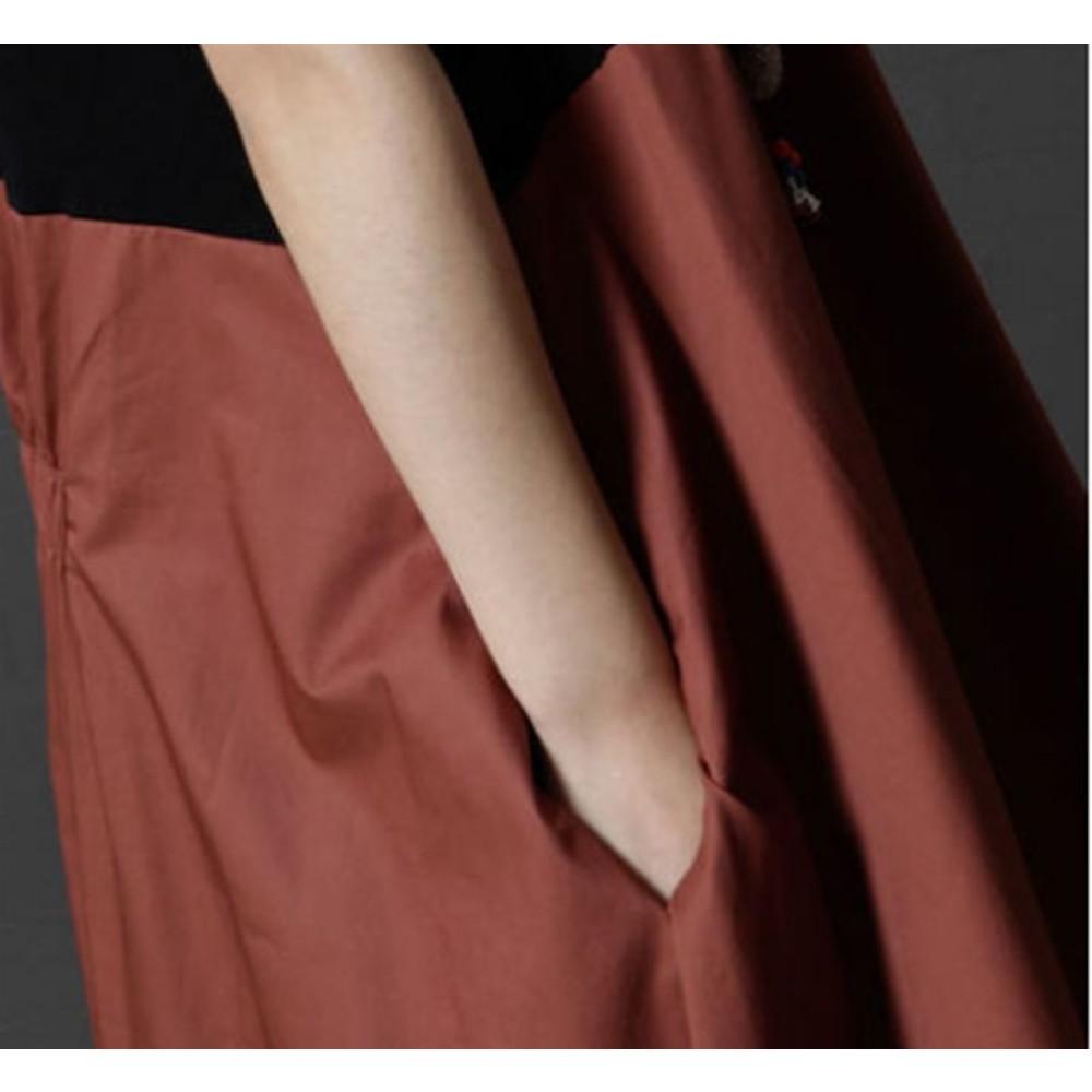 韓系 實拍 棉麻洋裝 【D6358】 不規則 裙擺 撞色 前短後長 抽繩 裙襬 超好穿 寬鬆連身裙