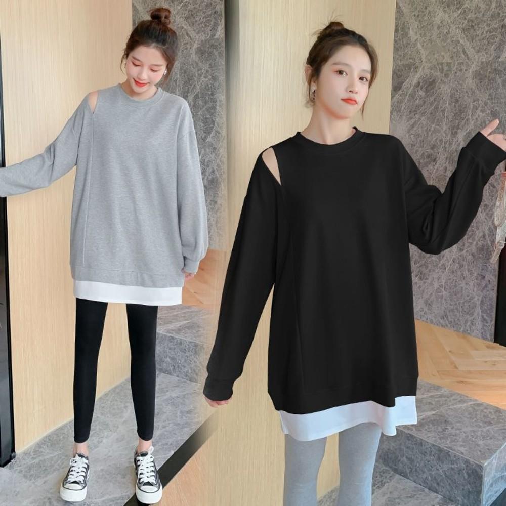 實拍 韓系 百搭 裸肩 假二件 上衣【D6399】長版T 棉T 拼接 假兩件 T恤