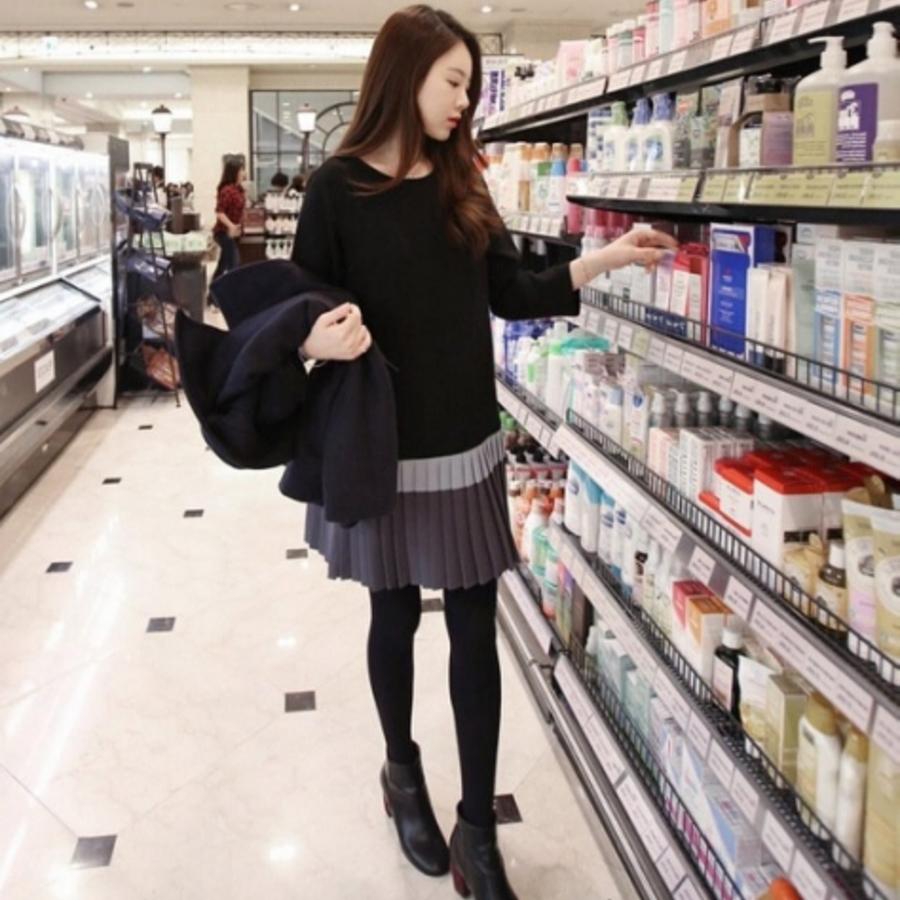 名媛氣質洋裝 【D6623EK】 百褶裙 長袖 顯瘦 修身洋裝 孕婦裝