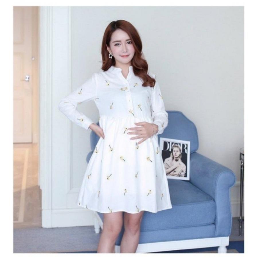 小雛菊 長袖 洋裝 【D6662】 V領 長袖 繡花 孕婦裝 高腰 娃娃裙 孕婦裙