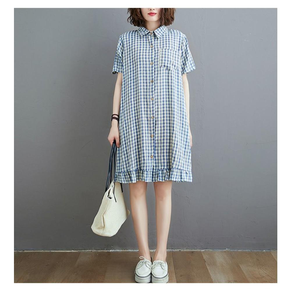 實拍 文藝 開扣 格紋 【D6706】格子 翻領 襯衫洋裝 寬鬆 洋裝 連衣裙