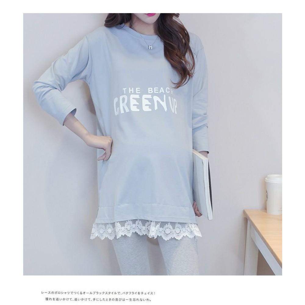 字母 印花  長版上衣 【D7066】蕾絲 拼接 長袖 舒適 棉T 上衣