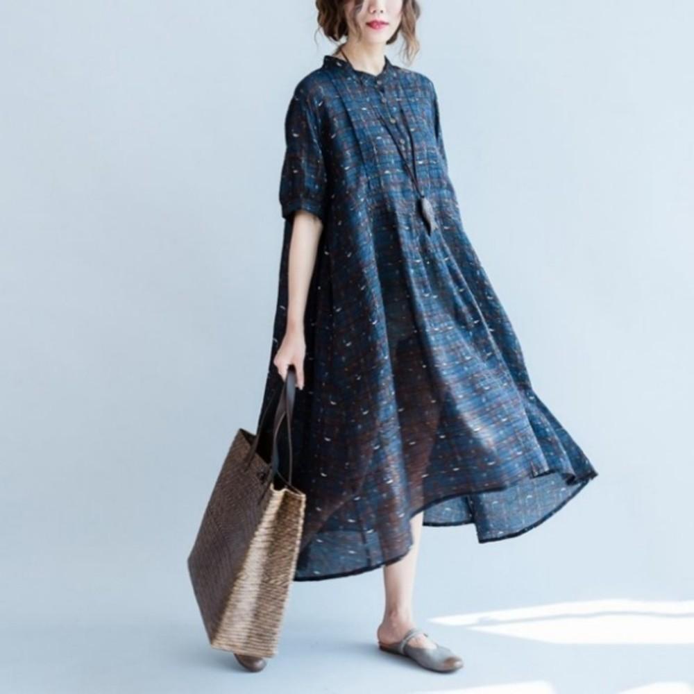前短後長洋裝 【D7077】 格紋 寬鬆 舒適 薄款 透氣 柔軟 棉麻 孕婦裝 短袖洋裝