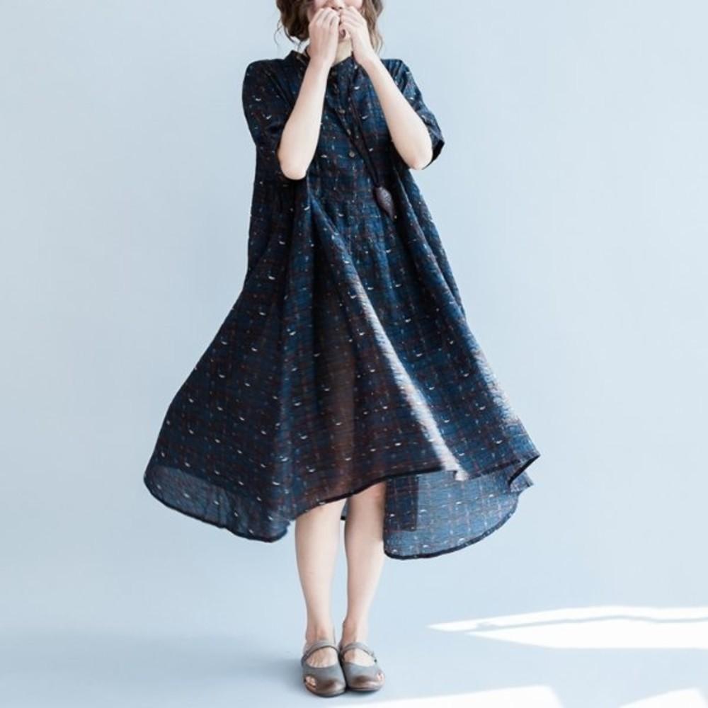 D7077 - 前短後長洋裝 【D7077】 格紋 寬鬆 舒適 薄款 透氣 柔軟 棉麻 孕婦裝 短袖洋裝