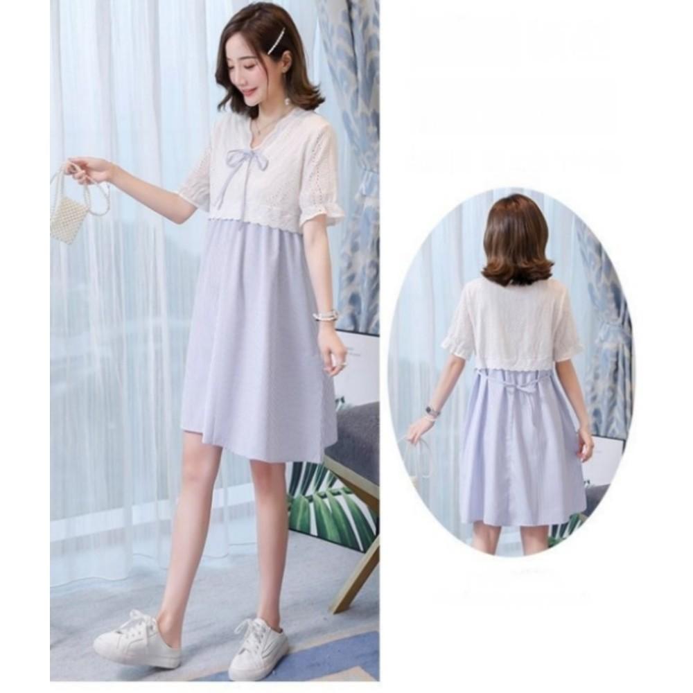 布蕾絲 小洋裝【D7088】韓系 蕾絲 條紋 短袖 洋裝 孕婦裝 泡泡袖 孕婦洋裝