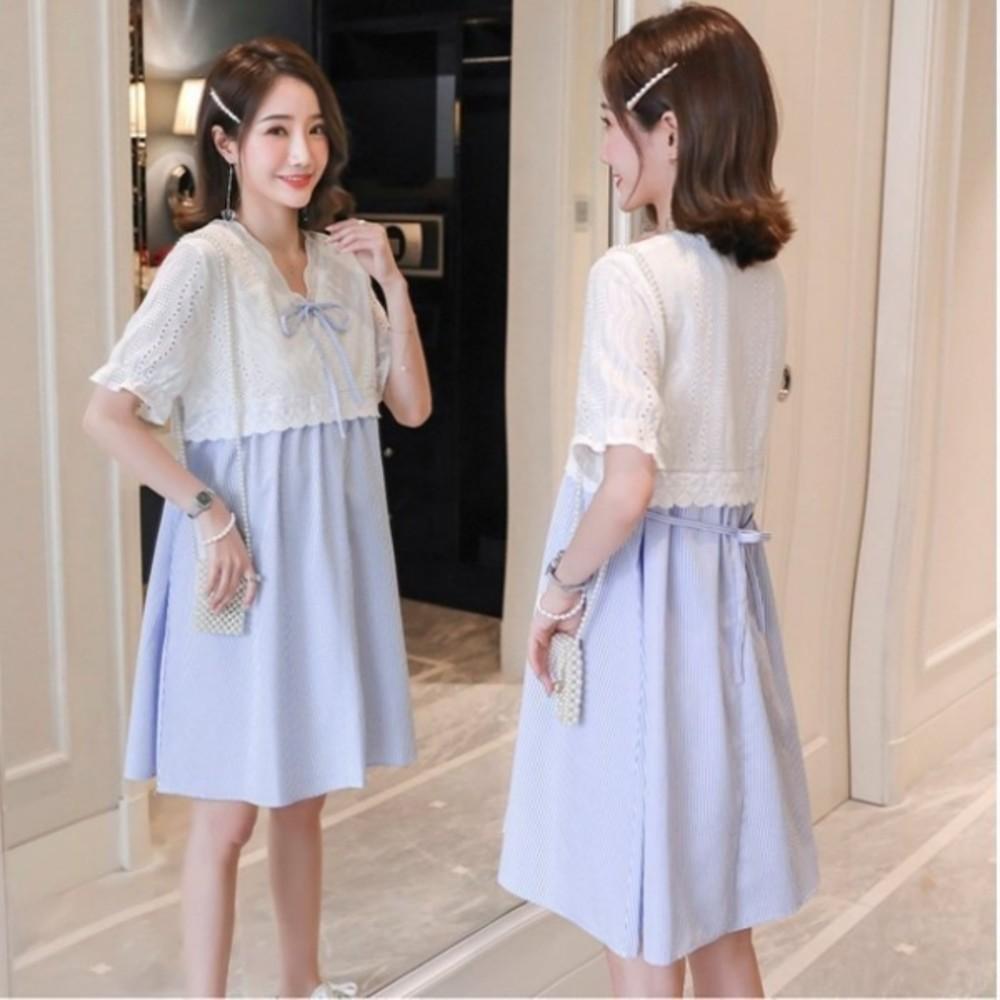 D7088 - 布蕾絲 小洋裝【D7088】韓系 蕾絲 條紋 短袖 洋裝 孕婦裝 泡泡袖 孕婦洋裝