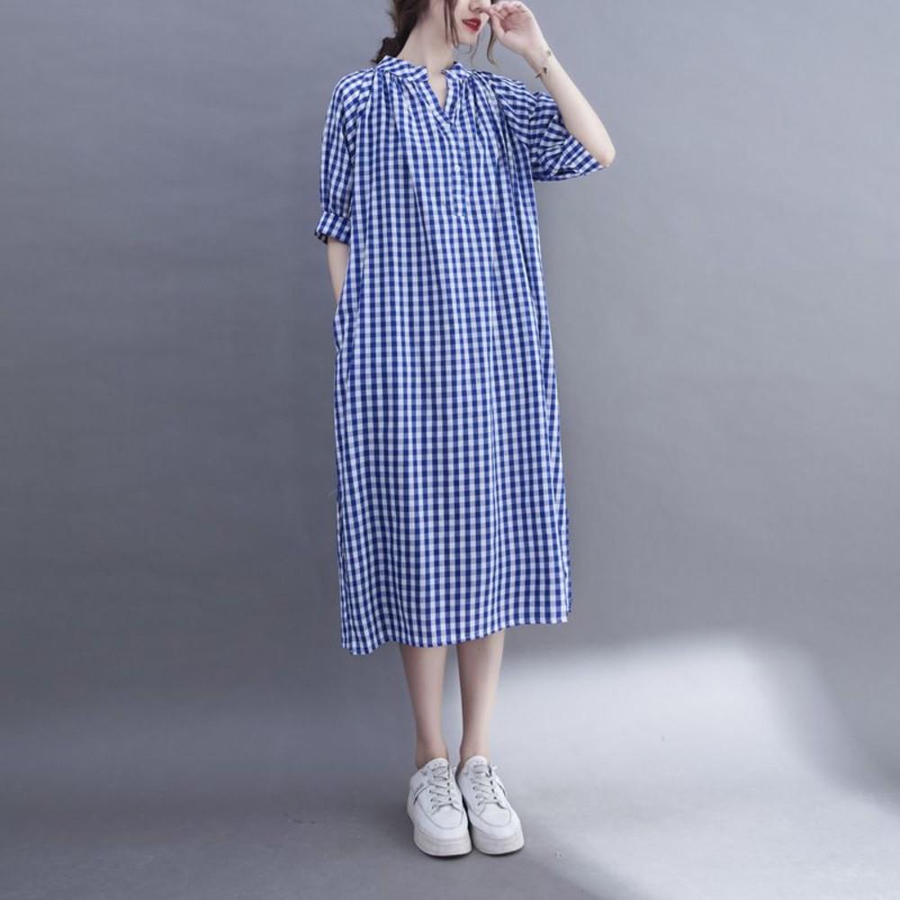 實拍 文藝 寬鬆 格子洋裝【D7118】V領 格子 中長款 洋裝 連衣裙